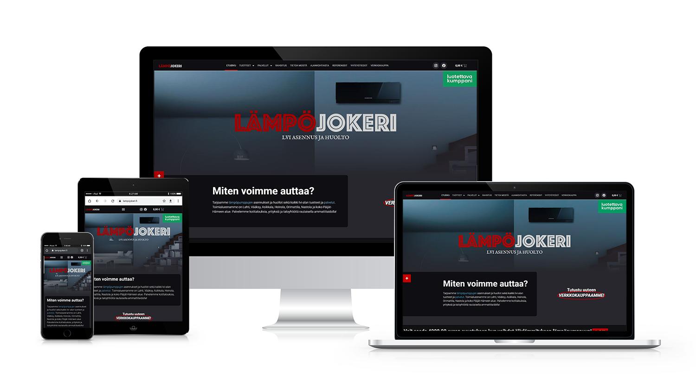 Yrityksen nettisivut eri laitteille skaalautuneina.